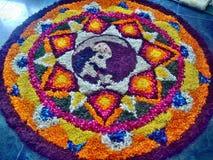 Flower Rangoli. Onam flower rangoli, Onam fest. Flower designing. Kerala India Stock Image