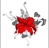Flower, red. Design of a  background in vintage style Royalty Free Stock Image