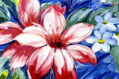 Flower red. Beautiful red flower on a blue background royalty free illustration
