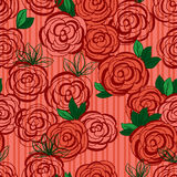 Flower red green old fabric seamless pattern Royalty Free Stock Image