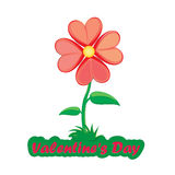 Flower from red hearts - Valentine`s day card.  Stock Image