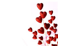 Flower of Red Hearts on White Background Royalty Free Stock Image