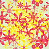 Flower red yellow bright seamless pattern Royalty Free Stock Images