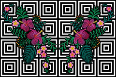 Flower reflection embroidery on black white seamless stripe background. Fashion print decoration plumeria hibiscus palm leaves. Tr. Opical exotic blooming Stock Photos
