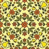 Flower Retro Background. Flower and Bird Ornaments retro tile, repeat as many times as you like Royalty Free Stock Image