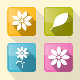 Flower Retro Square Icons Stock Photo