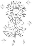 Flower with ribbon coloring page Stock Image