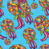 Flower ribbon seamless pattern Stock Photos