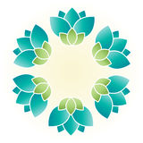Flower ring. Vector isolated lei design with blue green blossom floral symbols on sand white background Stock Images