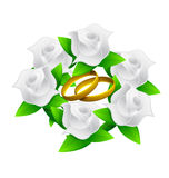 Flower and rings wedding bouquet illustration Stock Photos