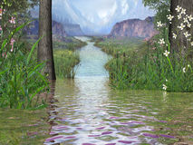 Flower River Valley. A river flowing through a mountain flowered valley Stock Image