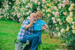 Grandfather with grandson gardening together and hug, embrace. Happy Grandfather with his grandson working in the garden stock photography