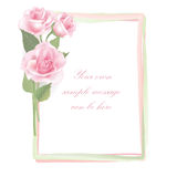 Flower Rose frame isolated on white background. Floral  decor. Stock Images