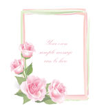 Flower Rose frame isolated on white background. Floral  decor. Flower decor. Flower rose background. Floral frame with pink roses. Flourish border. Picture Stock Image
