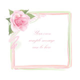Flower Rose frame isolated on white background. Floral vector decor. Royalty Free Stock Photography