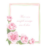 Flower Rose frame isolated on white background. Floral vector decor. Flower decor. Flower rose background . Floral frame with pink roses Royalty Free Stock Image