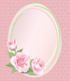 Flower Rose frame  on retro seamless background. Floral  decor. Flower decor. Flower rose background . Floral frame with pink roses Stock Image