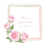 Flower Rose frame  on white background. Floral  decor. Royalty Free Stock Photography
