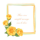 Flower Rose greeting frame with copy space Royalty Free Stock Image