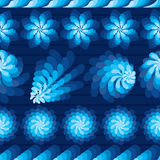 Flower rotate windmill blue horizontal seamless pattern. This illustration is drawing blue color flower and rotate like windmill in blue horizontal style with Stock Images