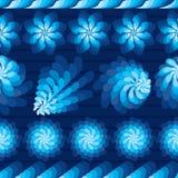 Flower rotate windmill blue horizontal seamless pattern Stock Images