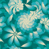 Flower rotate windmill green element fly seamless pattern vector illustration