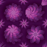 Flower rotate windmill purple mist seamless pattern. This illustration is design and drawing purple color flower rotate like windmill and symmetry mystery Royalty Free Stock Photography