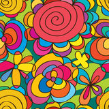Flower round colorful seamless pattern stock illustration