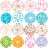 Flower round drawing set Stock Photos