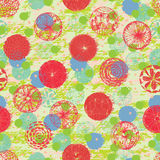 Flower round fabric effect seamless pattern Royalty Free Stock Photos