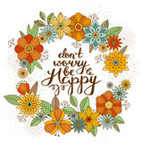 Flower round frame card design with hand lettering Stock Photo