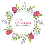 Round flower frame. Doodle style. Flower round frame. Decorative element for decoration of postcards or posters on the day of birth, wedding, March 8, etc Stock Photography