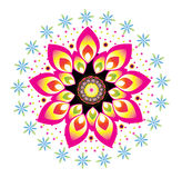 Flower round ornament. Colorful flower pattern illustration design Royalty Free Stock Photos