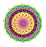 Flower round ornament. Colorful flower pattern illustration design Royalty Free Stock Images