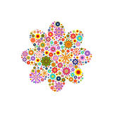 Flower with round petals composed of vector flowers on white Stock Photography