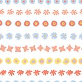 Flower rows doodle Seamless vector background vector illustration