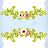 Flower's border. Vector textured background with flowers Stock Illustration