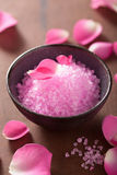 Flower salt and rose petals for spa. Flower salt and rose petal for spa Royalty Free Stock Photography