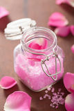 Flower salt and rose petals for spa. Flower salt and rose petal for spa Royalty Free Stock Image