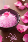 Flower salt and rose petals for spa. Flower salt and rose petal for spa Stock Photography