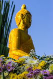Flower scene and Buddhas backdrop Royalty Free Stock Photos