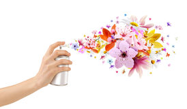 Flower-scented room sprays and flowers from inside. Perfume and room sprays can be used in areas such as photo manuplasyon Royalty Free Stock Image