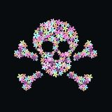Flower scull. Pattern on black background Stock Photography