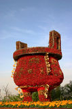 Flower sculpture. Chinese cooking vessel sculpture made of flowers Royalty Free Stock Photography