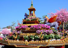 Flower sculpture in flower festival. Flower sculpture A chariot decorated with flowering varieties. Flower Festival in Chiang Mai Thailand and decorated with Royalty Free Stock Image