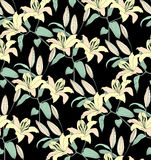 Flower seamless background. Abstract ornament flower lily texture. stock illustration