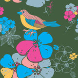 Flower Seamless Background With a Bird Royalty Free Stock Image