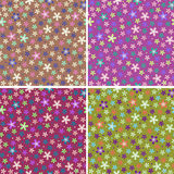 Flower seamless color pattern set Stock Image