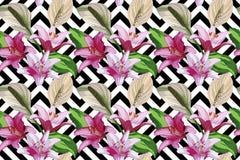 Flower seamless geometric black white background Royalty Free Stock Photo