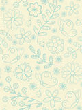 Flower seamless pattern. With butterflies and ladybird Stock Images
